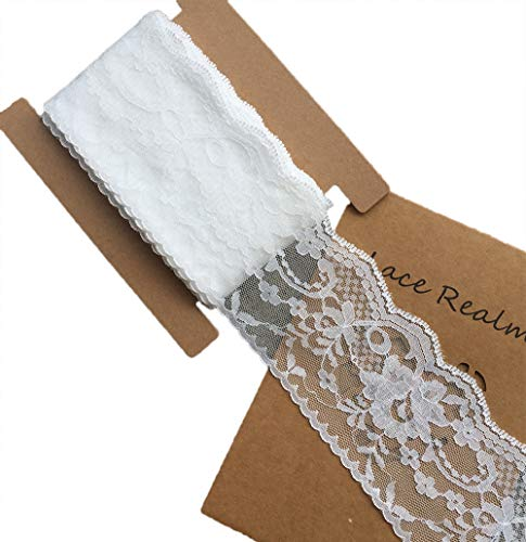 LACE REALM 3.2 inches wide x 20 yards White Floral Pattern Trim Lace Ribbon for Decorating, Floral Designing and Crafts