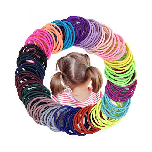 Joyeah 200 Pieces Multicolor Baby Girls Hair Ties No Crease Hair Bands Ponytail Holder for Baby Girls Infants Toddlers…