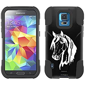 Samsung Galaxy S5 Sport Hybrid Case Silhouette Horse Head on Black 2 Piece Style Silicone Case Cover with Stand for Samsung Galaxy S5 Sport