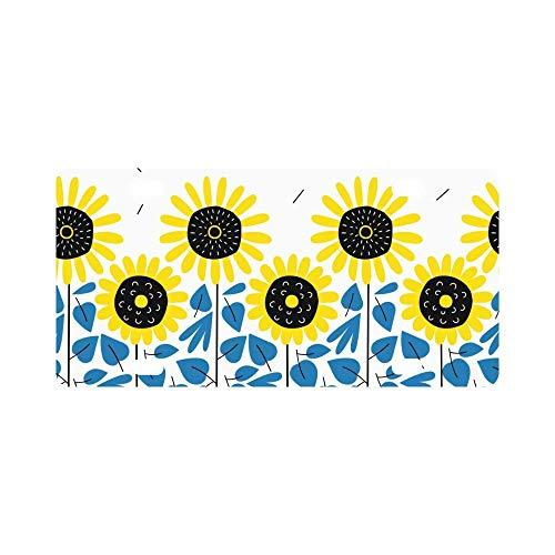INTERESTPRINT Sunflower Harvest Pattern Metal License Plate Tag Sign Decor 12
