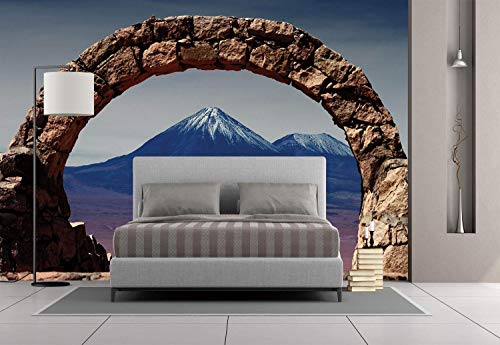 Funky Wall Mural Sticker [ Volcano,South American Desert Landscape with Mountains Seen From Stone Arch Decorative,Light Pink Navy Blue Brown ] Self-adhesive Vinyl Wallpaper / Removable Modern Decorati]()