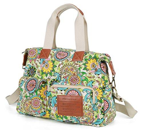 Malirona Canvas Shoulder Bag Travel Handbag Women Top Handle Satchel Crossbody Purse Floral (Multi Pocket Top Handle Satchel)