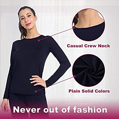MANCYFIT Womens Thermal Tops Fleece Lined Shirt Long Sleeve Base Layer at Women's Clothing store