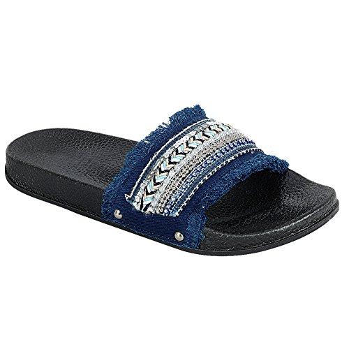 Scivolo Da Donna Su Sandalo Flat Glitter Sandalo Infradito Con Fiocco Blu