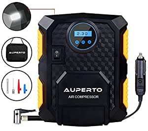 [Internal Upgrade]Tire Inflator, AUPERTO Portable 150 PSI Electric DC 12 Volt Car Air Compressor Pump with Storage Bag