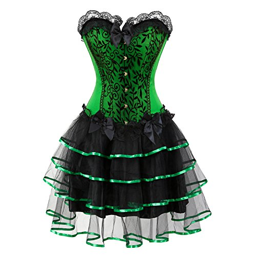 Frawirshau Gothic Halloween Lace up Corset Moulin Rouge Showgirl Clubwear Dress Green M