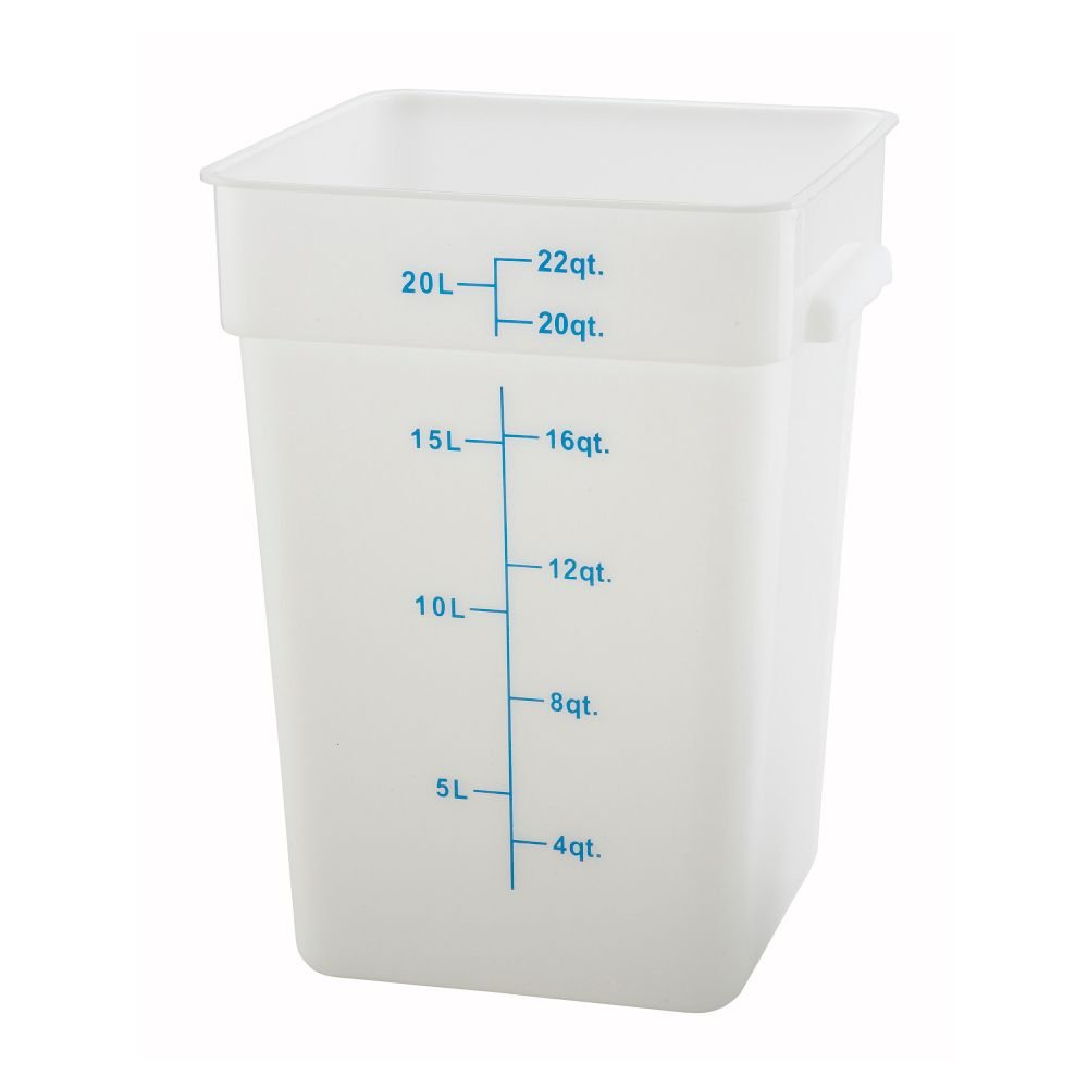 Winco Square Storage Container, 22-Quart, White