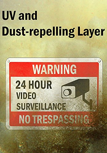 WISLIFE Video Surveillance Sign Set, 2 (10'' X 7'') Aluminum Warning Signs & 6 (6''X6'') Window Stickers, Video Security Signs by WISLIFE (Image #4)