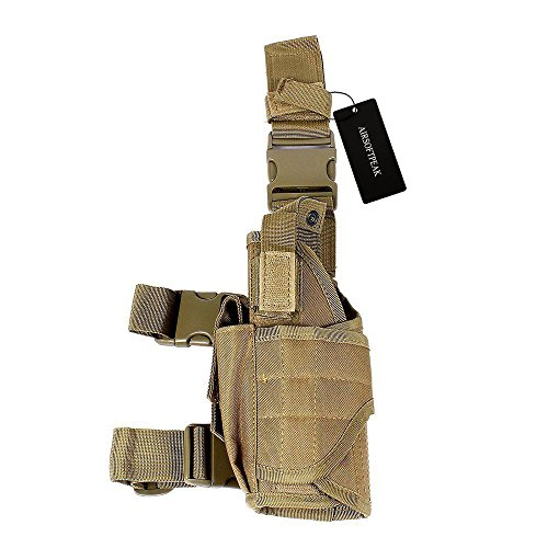 AIRSOFTPEAK Tactical Leg Holster Universal Pistol Drop Leg Gun Holster Adjustable Hunting Thigh Holster Left Handed with Mag Pouch, Tan - Quick Adjust Weight System