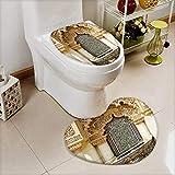 vanfan Lid Toilet Cover mVintage Building Islamic Housing Historic Exterior cade Mosaic Machine-Washable