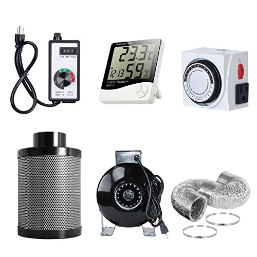 PrimeGarden 4'' Inline Fan Carbon Filter Ducting Combo + Variable Fan Speed Controller + Hygrometer Thermometer + 24 Hour Timer Outlet for Hydroponic Grow Tent Ventilation System (4'' Ventilation ()