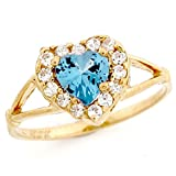 10k Gold Simulated Aquamarine March Birthstone Ring