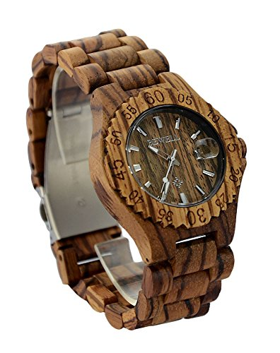 Ideashop Women's Zebra Wood Wooden WristWatches With Date Calendar Adjustable Wood Band Quartz Watches for Lovers...