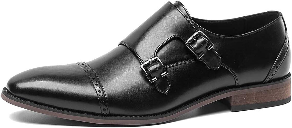 Men/'s Double Monk Strap Derby Oxfords # Leather Dress Shoes#Brown Size 11