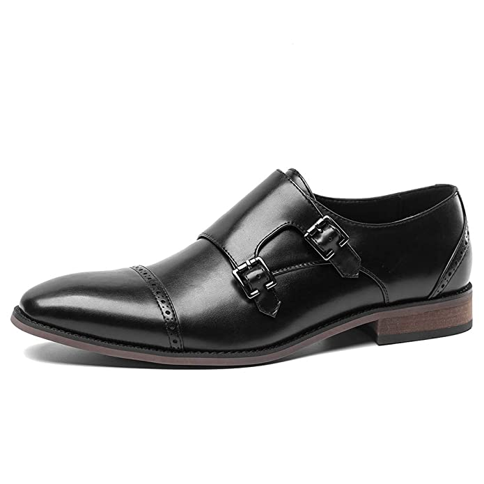 Men's Casual Monk Strap Buckle Oxfords Dress Shoes by Caroto