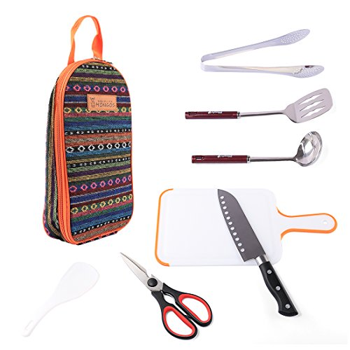 RuiyiF 7Pack Camping Cooking Utensils Cooking Cutlery Spatula Spoon Clip Scissors Rice Spoon Kitchen Knife Chopping Board with a Carring Case