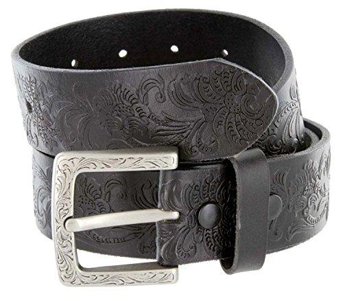 Belts.com - Jordan Women's Full Leather Western Floral Engraved Cowgirl Casual Jeans Belt (28 Black)