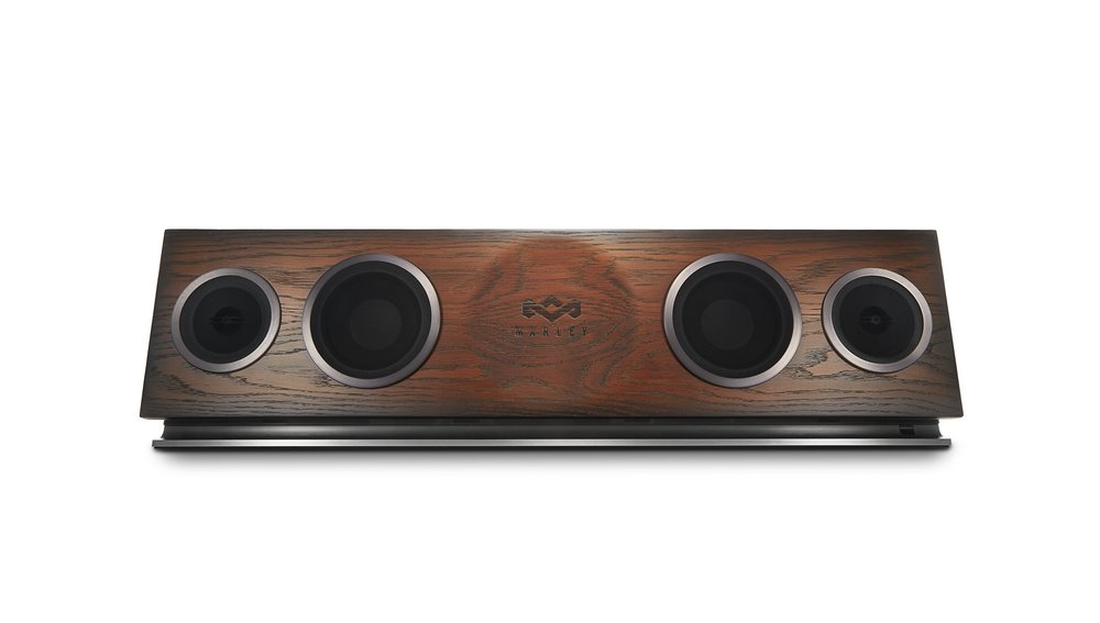 House of Marley, One Foundation Premium Home Audio Hi-Fi System, 3.5'' High-Output Woofers, 2 x 1'' High-Definition Tweeters, 220 Watt Stereo Power, FSC Certified Solid Oak Baffle, EM-DA002-RG Regal by House of Marley
