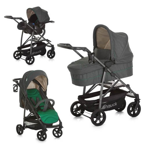 Hauck Rapid 4S Plus Trio Set Travel System, Caviar/Emerald