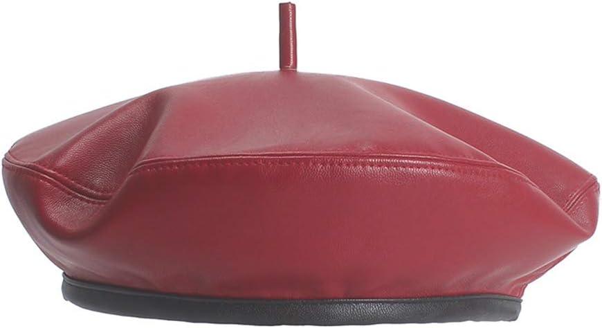 Natural Caps CHENJUAN Beret Cap Leather Beret Autumn Winter Ladies Hat Black Red Fashion Hipster Wild Painter Hat Color : Red, Size : 56-58cm Fashion Hats Caps,Elegant Hats