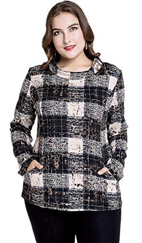 Cómodo Casual Camisetas Blusas Manga Con Retro Laterales Mujer Cuello Elegantes Shirts Moda Camisas Tops Larga Bolsillos Schwarz Cuadros Primavera Otoño Redondo wp8gqpxS0