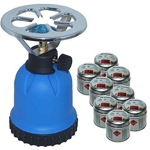 Rsonic Gaskocher C190 Blau + 8x Butane cartridge (je 190g) • Blue Portable mini Camping kocher mit 8 Butane…