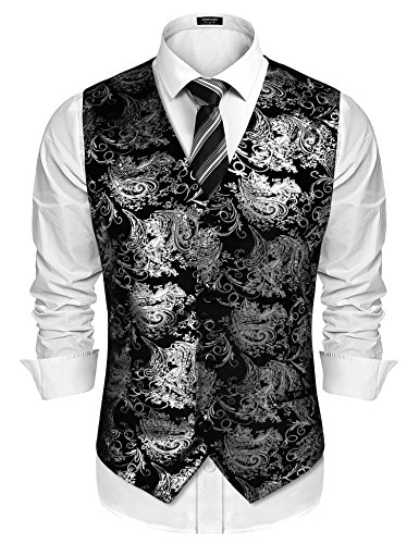 COOFANDY Mens Classic Suit Vest Paisley Floral Tuxedo Dress Waistcoat Vests ()
