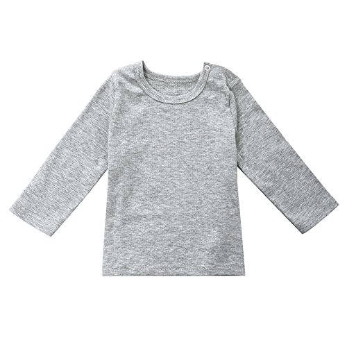 (Unisex Baby Shirt Cotton Long Sleeve Tee Infant Tops Grey 13-18 Months)