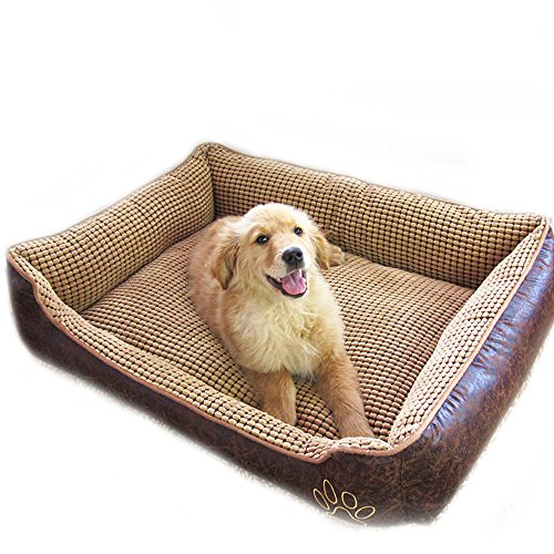 Big Large Waterproof PU Leather Dog Sofa Bed House Kennel Washable Winter Warm Fleece Golden Retriever Pet Dog Cat Bed Mat Cushion (XXL(pet under 50KG), Brown) by FLAdorepet