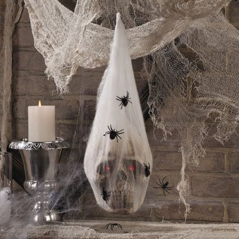 [LED Skull in Spider Cocoon - Halloween Party Supplies & Decorations & Home Decor] (Halloween Decor For Home)