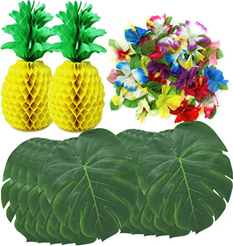 JOYIN 38 Pieces Luau Hawaiian Tropical Jungle Party Decoration Set Including 12 13-inch Tropical Palm Simulation Leaves, 24 Silk Hibiscus Flowers, and 2 13.5-inch Tissue Paper Pineapples