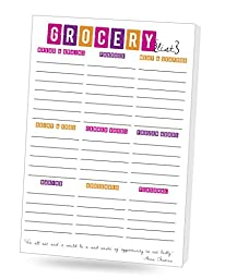 DOUBLE PACK Grocery List Notepad 6 X 9 inches,With Many Great Tab Features, Beautiful Lively Sophisticated Design & Color, 50 Tear off Sheets per pad, 2 Pads per pack