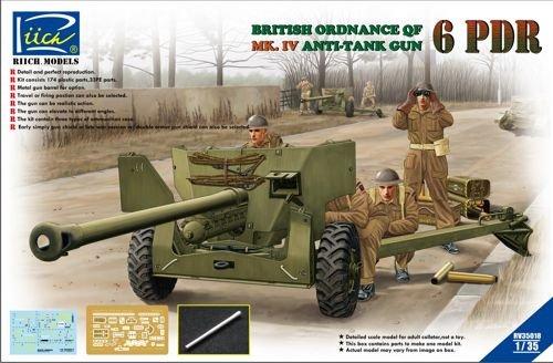 Riich RCH35018 1:35 British Ordnance QF 6 PDR Mk IV Anti-Tank Gun MODEL KIT