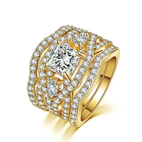 - ANAZOZ Gold Plated Princess Cut Synthetic Diamond Halo Cubic Zirconia CZ Infinity Wedding Bridal Ring Set Size 5