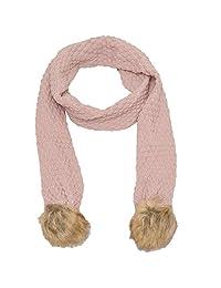 Marilyn Monroe Girls Pink Tan Textured Faux Fur Detail Winter Scarf
