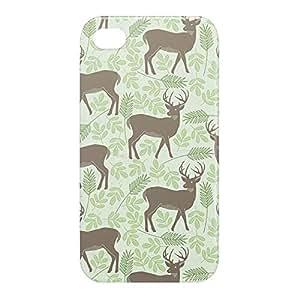 Loud Universe Apple iPhone 4/4s 3D Wrap Around Spring Deers Print Cover - Green/Brown
