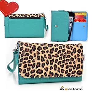 Bloutina [Metro Safari] LEOPARD & BLUE GREEN | Women's Wallet Universal Phone Case with Cash & Card Holder Wrist-let fits...