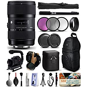 "Sigma 18-35mm F1.8 DC HSM Art Lens for Canon (210101) includes 3 Piece Filter Set + Stabilizer Handle + Backpack + 67"" Monopod + Wrist Strap + Cleaning Kit + Lens Brush Pen + More"