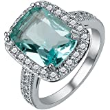 Fashion Women 925 Silver Topaz Gemstone Man Wedding Engagement Ring (9)