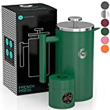 French Press Coffee Maker by Coffee Gator - Thermal Insulated Brewer Plus Travel Jar - Large Capacity, Double Wall Stainless Steel - 34oz - Green