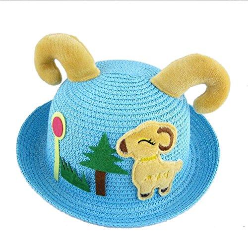 Qianbo Children's Cartoon Sheep Claw Summer Sun Beach Straw Hat Bucket Cap Blue