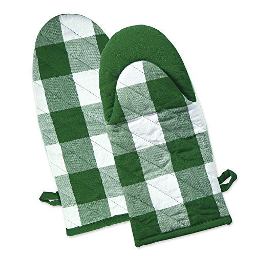 Green Oven Mitt - DII Shamrock Heat Resistant Green Buffalo Check Oven Mitts (Set of 2), Green and White Buffalo Check