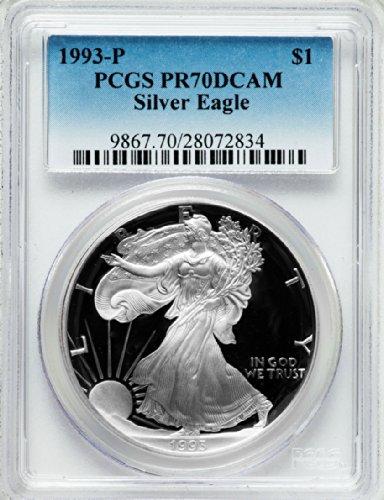 1993 P American Silver Eagle Dollar DCAM PCGS PR70
