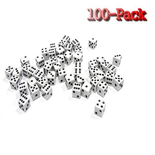 HUELE 100 White Dice - 8mm,Activity, Casino Theme, Party Favors, Toy Gifts