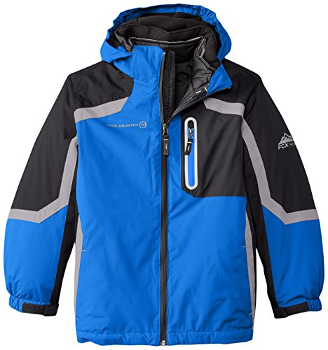 Free Country big boys' Systems Coat with Puffer Jacket, Electric Blue, Large/14-16