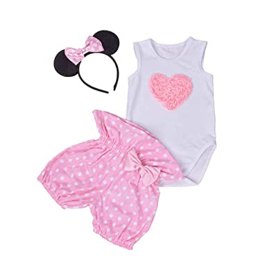 f930057e0b10b Amberetech Infant Baby Girl Mini Mouse Shorts Suits Romper Outfit 3Pcs  Clothing Set (Heart-