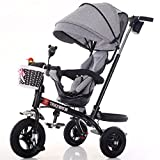 4-in-1 Childrens Tricycle Paw Patrol , High Quality Trolley Bicycle Kids Push Trikes for Baby 3 Wheel Bike with Parent Handle (Black Bike + Gray Linen Awning)
