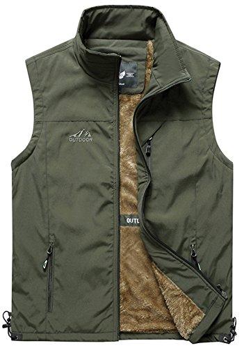 (HOW'ON Men's Outdoor Full Zip Fleece Outerwear Vest Army Green US L)
