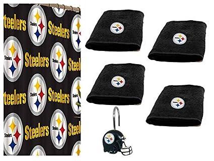 Pittsburgh Steelers Combo cortina de ducha, anillos para cortina de ducha & Juego De Toallas