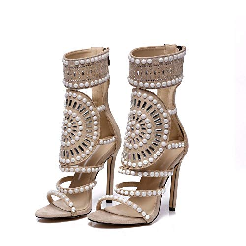(WAZMM Sandals Europe and The United States Fashion Rhinestones high-Heeled Nightclub Women's fine with Roman Shoes Foreign Trade Large Size Women's Shoes)